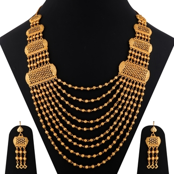 Gold Plated Adjustable Traditional Jewellery Long Multi Layer Set For women girl