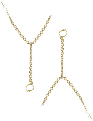 One Line Clear Polki Stones Haath Panja Phool Jewellery for Women - Orniza