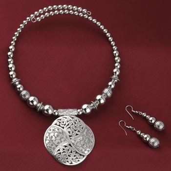 Oxidised Stylish Pendant Set Jewellery For Girls Women