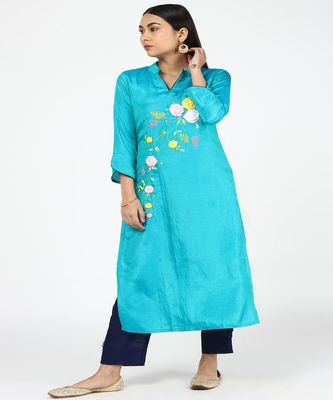HAND EMBROIDED BLUE SILK KURTI WITH SILK TROUSERS