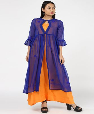 BLUE GEORGETTE CHIKANKARI SHRUG WITH YELLOW RAYON GOWN