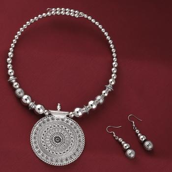 Oxidised Stylish Charm Pendant Set Jewellery For Girls Women