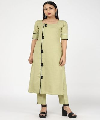 GREEN COTTON KURTI WITH TROUSERS