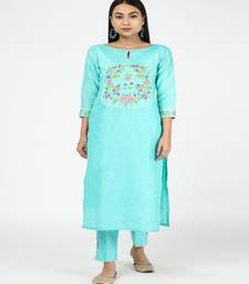 HAND EMBROIDED AQUA BLUE SILK KURTI WITH SILK TROUSERS