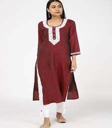 POTH MOTI EMBLISHED MAROON SILK KURTI WITH TROUSERS
