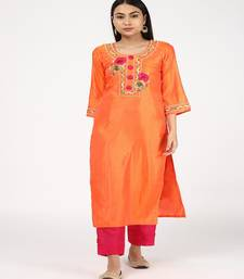 HAND EMBROIDED ORANGE SILK KURTI WITH SILK TROUSERS