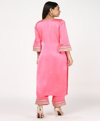 PINK SATTIN EMROIDED KURTI WITH TROUSERS