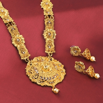 Gold Plated Traditional Party Wear long Set For Girl Women
