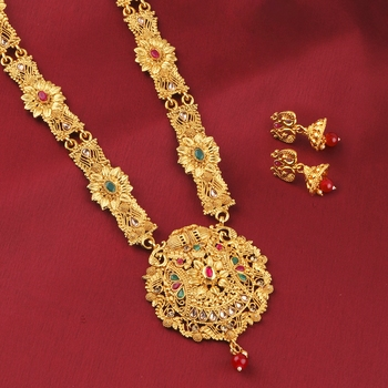 Gold Plated Adjustable Traditional Fancy Look Long Set For Girl Women