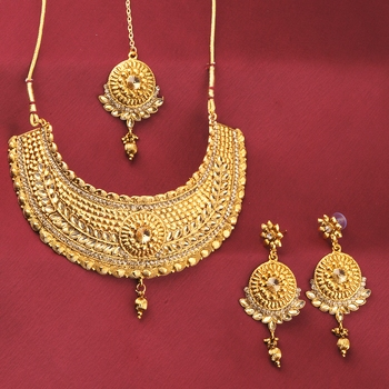 Gold Plated Adjustable Stylish Choker Set Traditional Jewellery For Girl Women