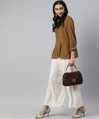 Light Brown Solid A-Line Viscose Top