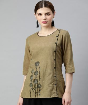 Brown Solid Straight Cotton Slub Top
