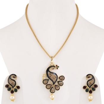 Gold Plated Stylish Designer Peacock Shape Pendant Set For women girl