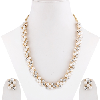 Attractive Gold Plated Adjustable Pearl Diamond Necklace Set For women girl