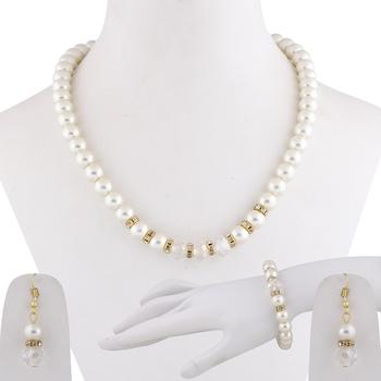 Party Wear Adjustable Pearl Mala Set With Bracelet For Women Girl