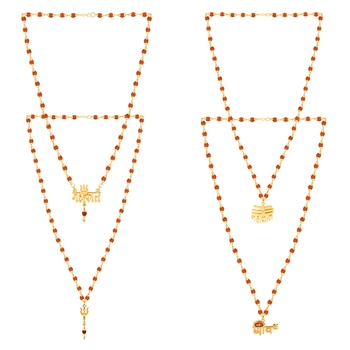 Gold Plated Traditional Combo Rudraksh Mala Pendant for Men and Women-set 4