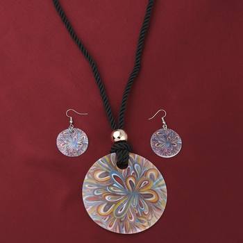 Stylish Party Wear Round Pendant Set For Girl Women