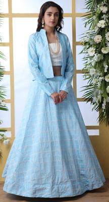 Sky-blue embroidered art silk semi stitched lehenga
