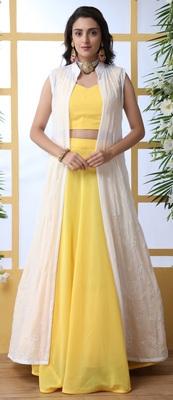 Yellow embroidered georgette semi stitched lehenga