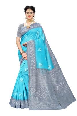 Aqua blue printed art silk saree with blouse