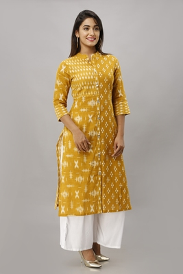 Women's  yellow Cotton Slub Ikat Printed Straight Kurta
