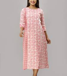 Women's  Pink Cotton Geometric Printed A-line Kurta
