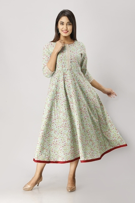 Women's  green Cotton Floral Printed Anarkali Kurta