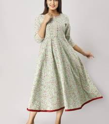 Women's  green Cotton Floral Printed Anarkali Kurta