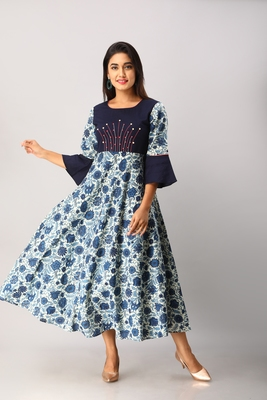 Women's  blue Cotton Flex & Cotton Floral Printed Anarkali Kurta