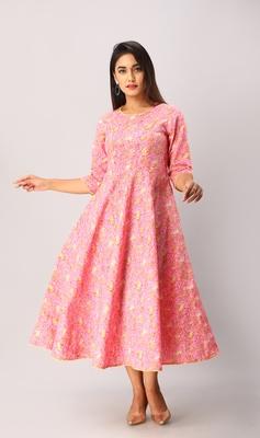 Women's  Pink Cotton Floral Printed Anarkali Kurta