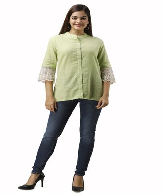 Women's green Cotton Slub Solid Regular Fit Shirt