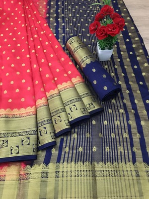Peach woven silk saree with blouse