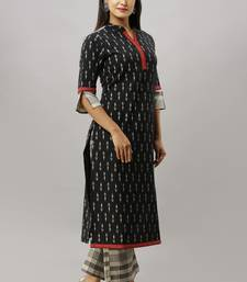 Women's Cotton Flex Ikat Printed Straight Black Kurta Palazzo Set