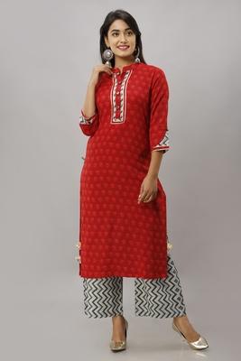 Women's Cotton Printed Straight Red Kurta Palazzo Set