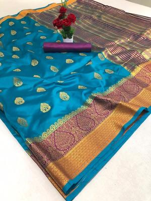 Sky blue woven silk saree with blouse