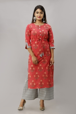 Women's Cotton Buta Printed Straight Coral Kurta Palazzo Set