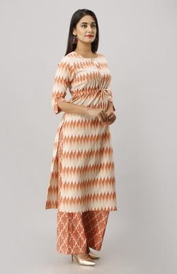 Women's Cotton Tye Dye Printed Straight Coral Kurta Palazzo Set