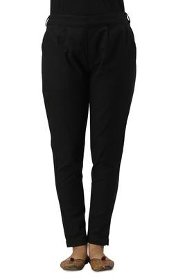 Women's Black Cotton Slub Solid Straight Trouser Pant