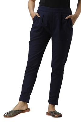 Women's blue Cotton Slub Solid Straight Trouser Pant