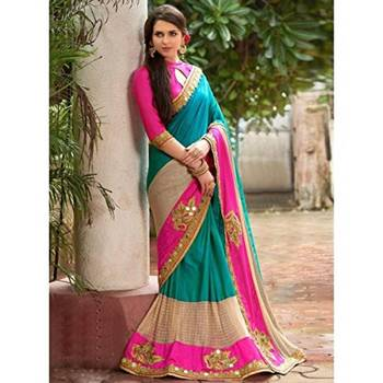 green embroidery georgette saree with blouse