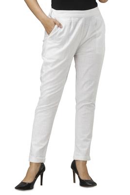 Women's White Cotton Slub Solid Straight Trouser Pant