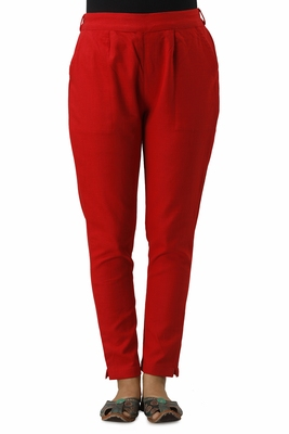 Women's Red Cotton Slub Solid Straight Trouser Pant