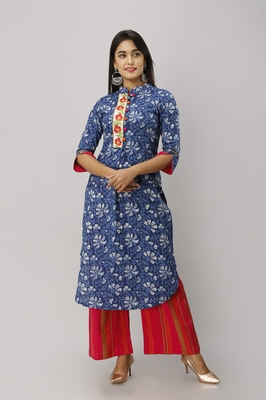Women's Cotton Floral Printed Straight Indigo Blue Kurta Palazzo Set