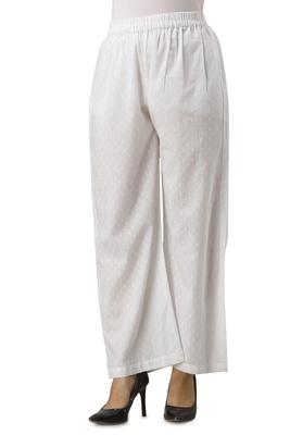 Women's White Butta Cotton Solid Straight Palazzo