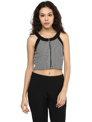 Black woven polyester crop-tops