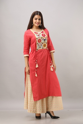 Women's Cotton Slub Bandhej Printed Straight Maroon Kurta Palazzo Set