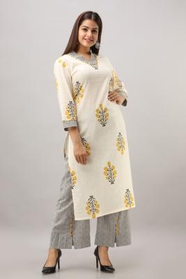 Women's Cotton Slub Buta Printed Straight Yellow & Grey Kurta Palazzo Set