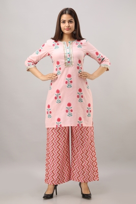 Women's Cotton Embroidered Straight Pink Kurta Palazzo Set