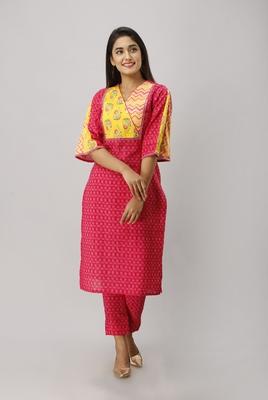Women's Cotton Flex Ikat Printed Straight Fuschia Pink Kurta Pant set