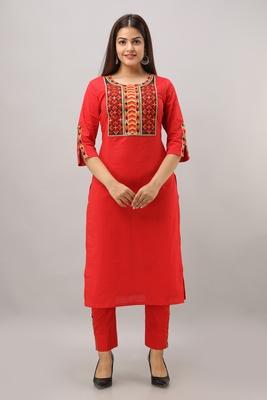 Women's Cotton Striped Printed Straight Red Kurta Pant set